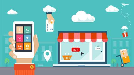 Flat design vector illustration. E-commerce, shopping & delivery