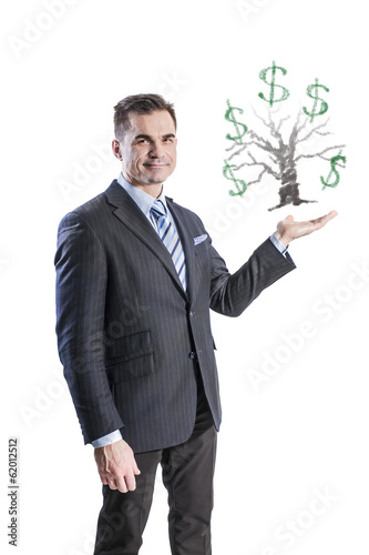 A businessman and a money tree in the palm of his hand