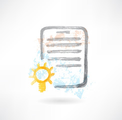 Document with lamp grunge icon.