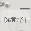 design word DENTIST on white crumpled paper and texture backgrou