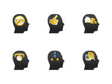 Thinking head icon set