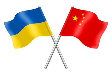 Flags: Ukraine and China