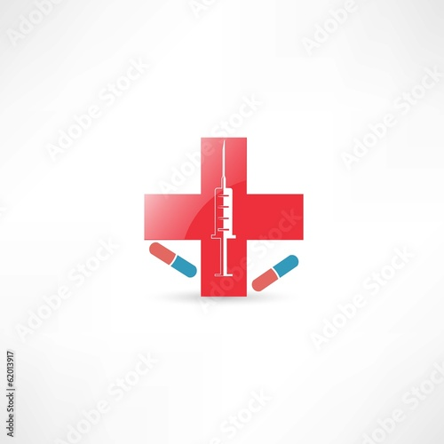Medical syringe and red cross
