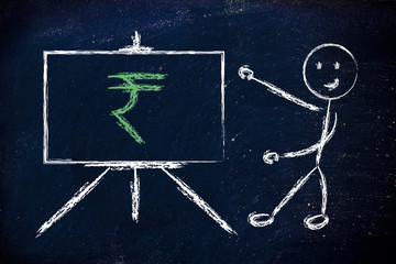 rupee currency symbol in blackboard design