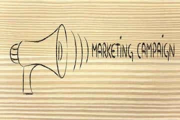 funny megaphone design: clear marketing campaign