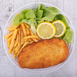 breaded, french fries and salad