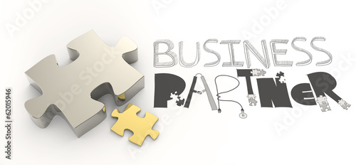 hand drawn graphic word BUSINESS PARTNER and 3d puzzle as concep