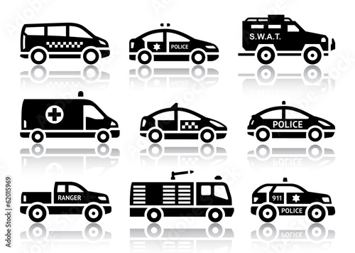 Set of service automobiles black icons