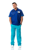 Handsome surgeon in blue special workwear poster