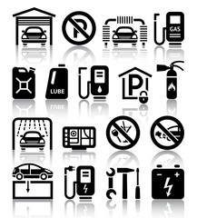 Transport service set of black icons