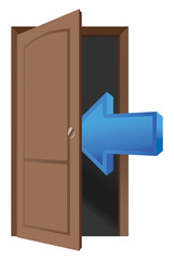 Brown wood door and arrow icon