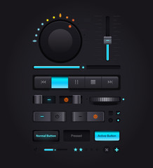 Dark Web UI Elements. Buttons, Switches, bars, power buttons