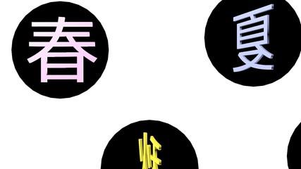 クロマキー用動画素材(オーバーレイ・タイトル14B 春夏秋冬・ホワイト)