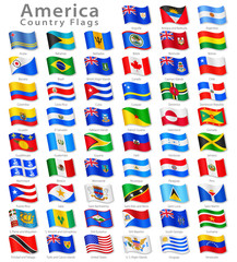 American Vector Waving flag Set