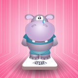 hippo crying on the scale