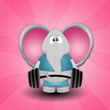 Elephant weightlifting in the gym