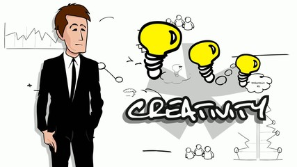 Creativity cartoon businessman teamwork marketing brainstorming