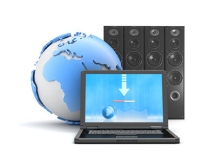 Download music from internet - laptop, sound system and earth gl