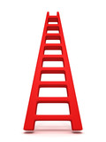 Red success concept ladder on white background