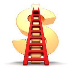 big golden dollar symbol and red success ladder