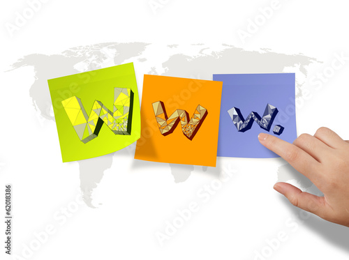 hand drawn WWW. on sticky notes and world map background as inte