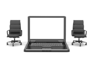 Two office chairs and laptop