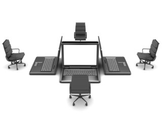 Four laptops and office chairs