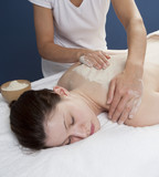 Udvartana back massage for peeling and toxins removal