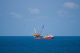 Oil and gas platform in the gulf or the sea,