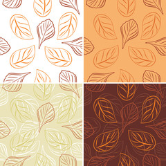Seamless leafy background. Four patterns