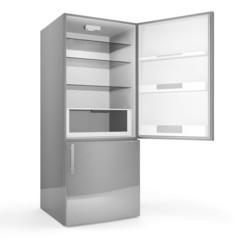 Modern metallic refrigerator with opened door isolated on white