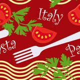 seamless Italian pasta and tomatoes pattern