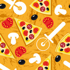 Seamless pizza yellow pattern