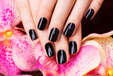 Beautiful women hands with black manicure - Fine Art prints