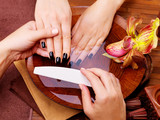 Manicurist master  makes manicure on woman's hands