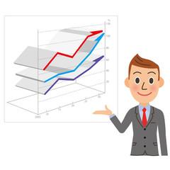 右肩上がりのグラフとビジネスマン