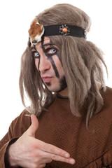 Shot of middle-aged shaman with frightening eyes