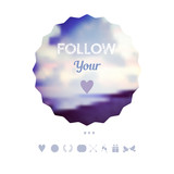 """follow your heart""  decoration, Greeting card, travel theme. Ho"