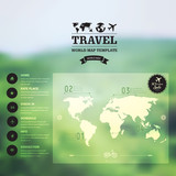 Vector watercolor map, web and mobile template. Corporate websit