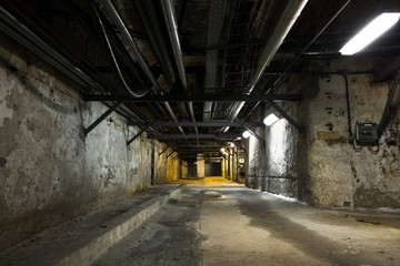 inside an old industrial building, basement