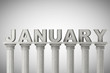 January month sign on a classic columns