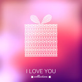 Gift box. Vector Valentine's Day background. Blurred template, h