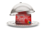 Silver Restaurant cloche with credit card