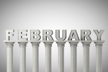 February month sign on a classic columns
