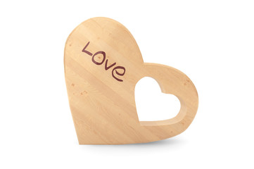 Organic Wooden Baby Teether as Heart