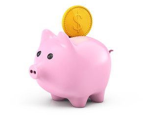 Golden dollar coin falling into a pink piggy bank