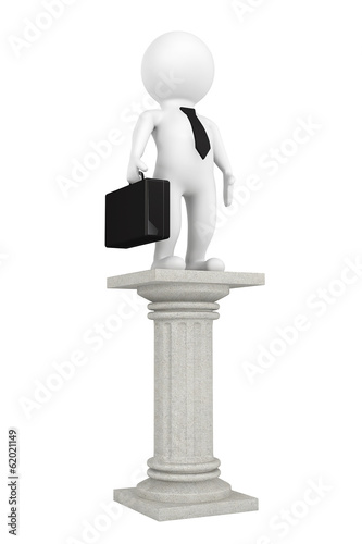 3d businessman over classic column