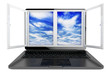 Laptop with opened window and sky view