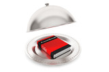 Silver Restaurant cloche with Cook Book
