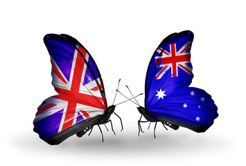 Two butterflies with flags UK and Australia
